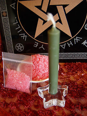 1 x GREEN SPELL CANDLE, HOLDER & DRAGONS BLOOD SALT KIT Wicca Witch Pagan Gothic