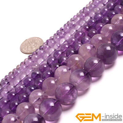 """Natural Light Purple Amethyst Crystal Jewelry Making Round Loose Beads 15"""""""