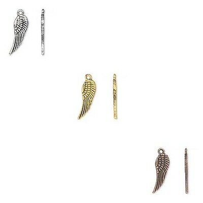 Lot of 500 Textured 15mm Angel Wing Drop Charms Plated over Pewter Base Metal