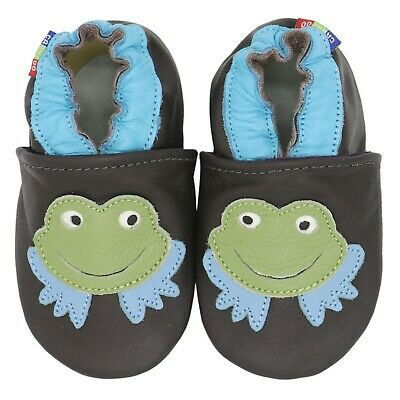 carozoo soft sole leather baby shoes flower dark blue 18-24m