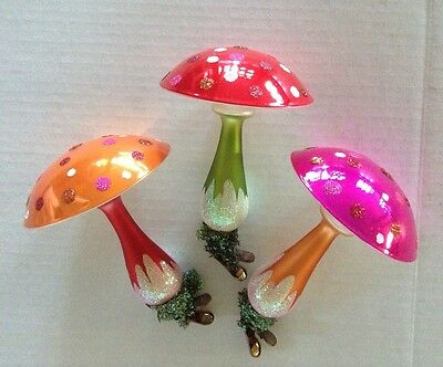 CHRISTOPHER RADKO ORNAMENTS CLIP ON MUSHROOMS LARGE  EXCEPTIONAL  HARD TO FIND