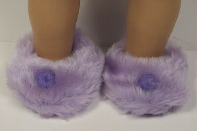 """YELLOW Faux Fur Fuzzy Doll Slippers House-Shoes For 18/"""" American Girl Debs"""