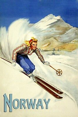 Ski Norway Vintage Poster Reproduction of Lady Skiing Down Mountain FREE S/H
