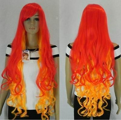 sexy red &orange mix long 100cm curly cosplay Animation Art wig +wigs cap g94