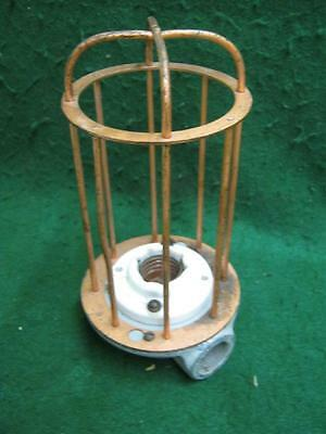 Vintage Industrial Factory Warehouse Steampunk Cage Light Old #2573-13