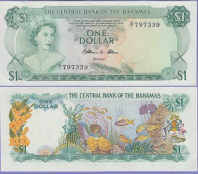 Bahamas 1 Dollar Banknote 1974 About Uncirculated Condition Cat#35-B-7339