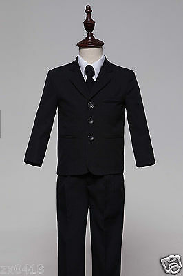 Baby Boys Black 5 Pcs Formal page Suit Waistcoat Suits Wedding Tuxedo Function