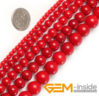 "Red Natural Coral Gemstone Round Beads For Jewelry Making 15""2mm 3mm 4mm 5mm 6mm"