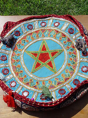 PENTACLE EMBROIDERY ROUND SHOULDER BAG  304 x 304 mm + STRAPS Wicca Pagan Witch