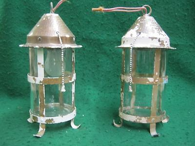 Vintage Pair Arts&Crafts Ceiling Light Fixtures Brass Lighting Mission #2575-13