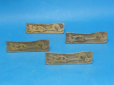 4x ANTIQUE EASTLAKE INSPIRED BRASS DOOR HANDLE