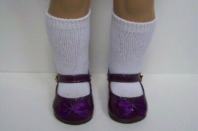 """PURPLE Patent Mary Jane Doll Shoes w/Ribbon Bow For 18"""" American Girl (Debs)"""