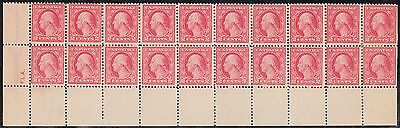 #499 VAR. MAJOR ERROR BOTTOM BLOCK OF 20 WITHOUT PLATE #s (12)NH (8)HR WL4703
