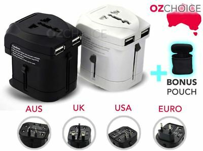 Universal Travel Adapter Dual 2 USB Wall AC Power to AU EU US UK International