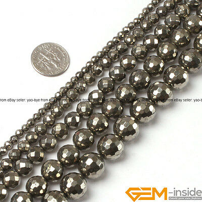 """Silver Gray Pyrite Gemstone Faceted Round Beads For Jewelry Making Strand 15"""" YB"""