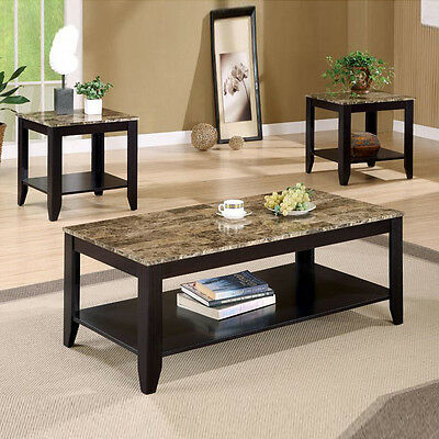 Modern 3 Pcs Brown Marble Look Walnut Wood Shelf Occasional Coffee End Table Set