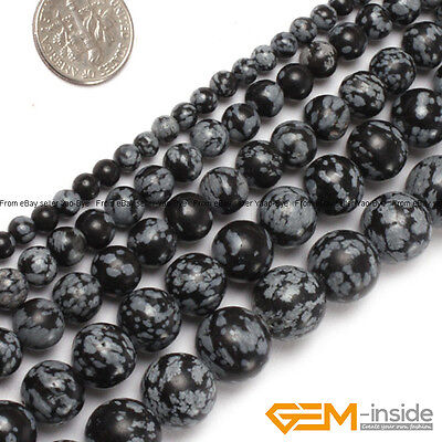"""Natural Snowflake Obsidian Gemstone Round Beads For Jewelry Making Strand 15"""" YB"""
