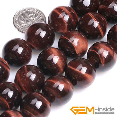 "Red Tiger's Eye Gemstone Round Beads For Jewelry Making 15"" 6mm 8mm 10mm 12mm"