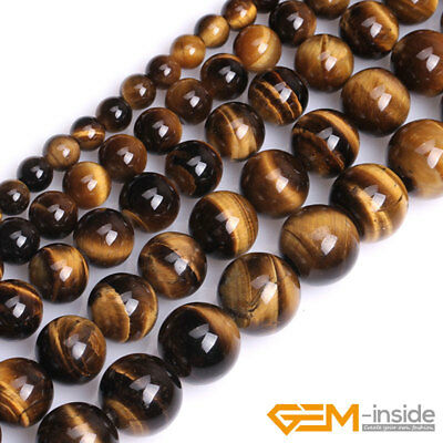 "Natural Tiger's Eye Gemstone Round Beads For Jewelry Making 15"" 4mm 6mm 8mm 10mm"