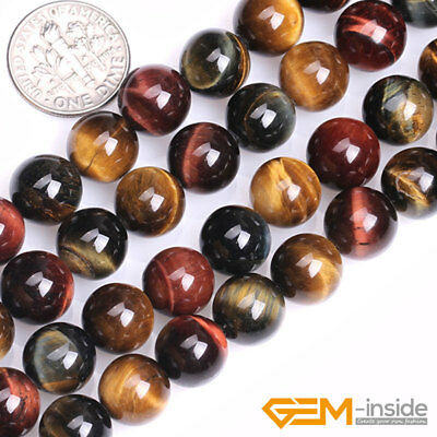 "Natural Multi-Color Tiger's Eye Gemstone Round Beads For Jewelry Making 15"" YB"