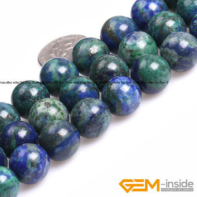 Lapis Lazuli Chrysocolla Gemstone Round Loose Beads For Jewelry Making 15""