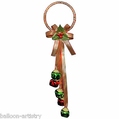 Jingle Bow Red Green Festive Christmas Sparkling Door Hanger Decoration