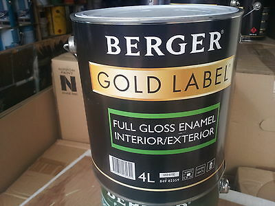 BERGER made/by/dulux 4 litre INT/EXT FULL-GLOSS oil enamel white colour paint