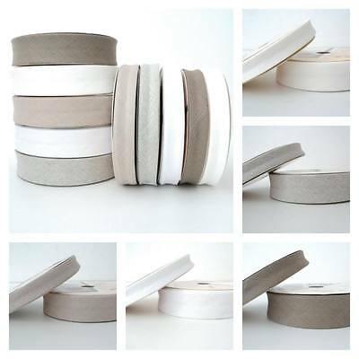 BY THE ROLL - 18mm or 30mm  NATURAL LINEN & COTTON EUROPEAN BIAS BINDING