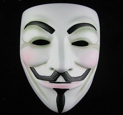 2 x Vendetta Costume V Mask Guy Fawkes Anonymous Halloween Cosplay Party Fancy