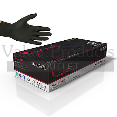 Unigloves Powder Free Black Latex or Nitrile Gloves - Tattoo Mechanic Boxed x100