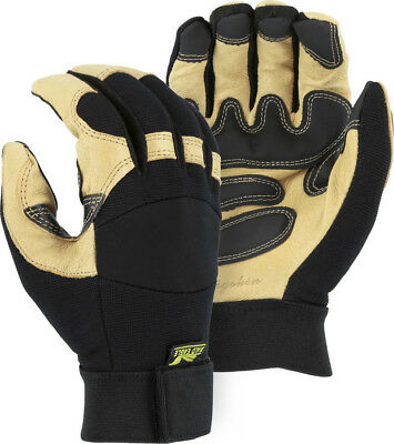 Majestic Glove Pig Skin Leather Mechanics Style 2160  Velcro   XL