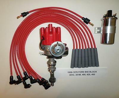 PLUG WIRES FORD 351C//M-400-429-460 RED Small HEI Distributor Black 45K V Coil