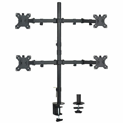 Quad LCD Monitor Desk Mount Stand Heavy Duty Fully Adjustable 4 Screens upto 27""