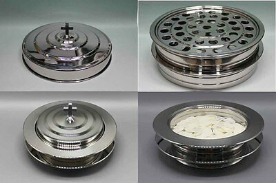 2 Stainless Steel Communion Trays with 1 lid , 1 Bread Tray set and Flagon