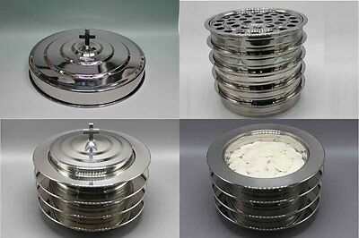 5 Stainless Steel communion trays with 1 lid , 4  bread trays and 1 lid