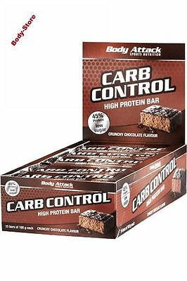Body Attack Carb Control Proteinriegel 15x100g Low Carb Riegel