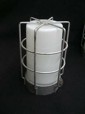 Vintage Industrial Factory Warehouse Old White Glass Cage Light Fixture #2607-13