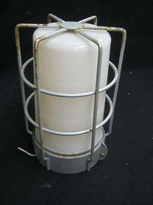 Vintage Industrial Factory Warehouse Plastic Globe Cage Light Fixture #2608-13