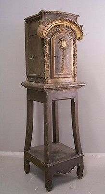 RARE 18th c Eucharist country French cabinet from small village chapel in Sance