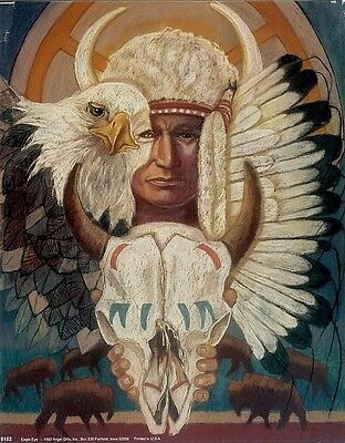 EAGLE EYE: 8x10 In. Native American Theme Art Print