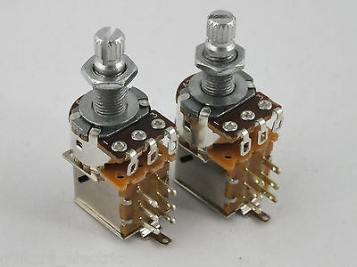 PUSH-PULL POTS Log A or Linear B 250k DPDT Potentiometers for Electric Guitars