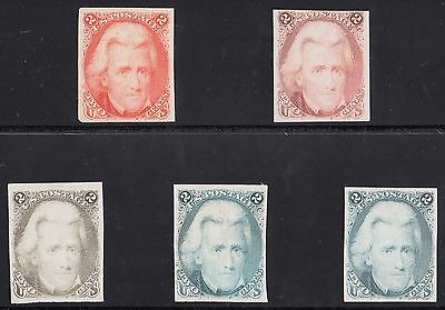 #73TC3 TRIAL COLOR PLATE ON INDIA PAPER (5) DIFFERENT CV $1,750.00 WL4797