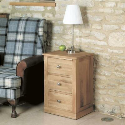 Fusion Solid Oak Wooden Furniture Three Drawer Bedside Cabinet Lamp Table