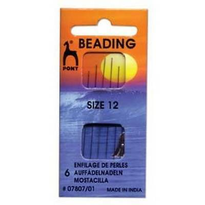 Six Size 12 Pony Beading Needles