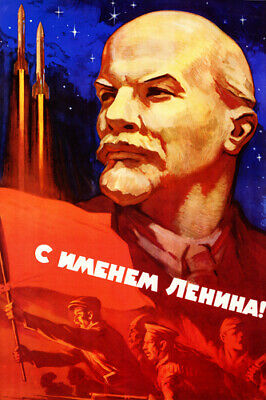 SOVIET space program PROPAGANDA poster LENIN workers missiles 24X36 POLITICAL
