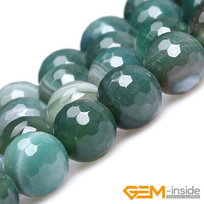 """Natural Green Stripe Agate Gemstone Faceted Round Beads For Jewelry Making 15"""""""