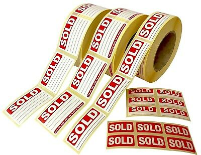 SOLD Stickers / Swing Tag Labels / Sticky Labels - Removable Adhesive