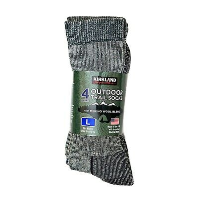 4 Pairs Merino Wool Socks Medium Large Trail Men Women Walking Hiking KIRKLAND