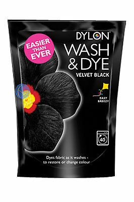 350g VELVET BLACK DYLON MACHINE WASH & DYE FABRIC CLOTHES COLOUR DYE, FREE P&P!