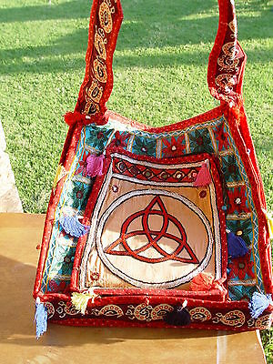 TRIQUETRA EMBROIDERY SHOULDER BAG D 355 x 355mm Wicca Pagan Witch Goth Charmed